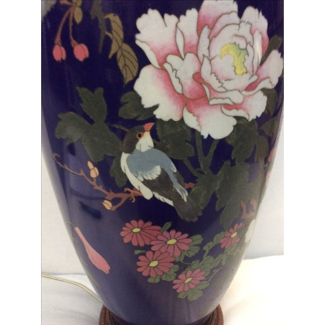 Blue Japanese Cloisonné Lamp For Sale In San Antonio - Image 6 of 11