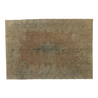 Overdyed Distressed Vintage Turkish Rug With Modern Industrial Style For Sale
