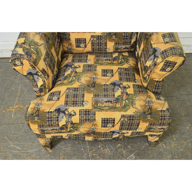 Custom Upholstered Golf Print Club Lounge Chair with Ottoman For Sale - Image 11 of 13