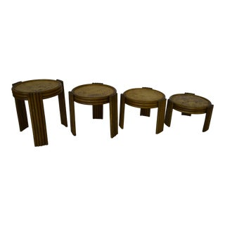 Vintage Bamboo/ Wicker Nesting Side Tables - Set of 4 For Sale