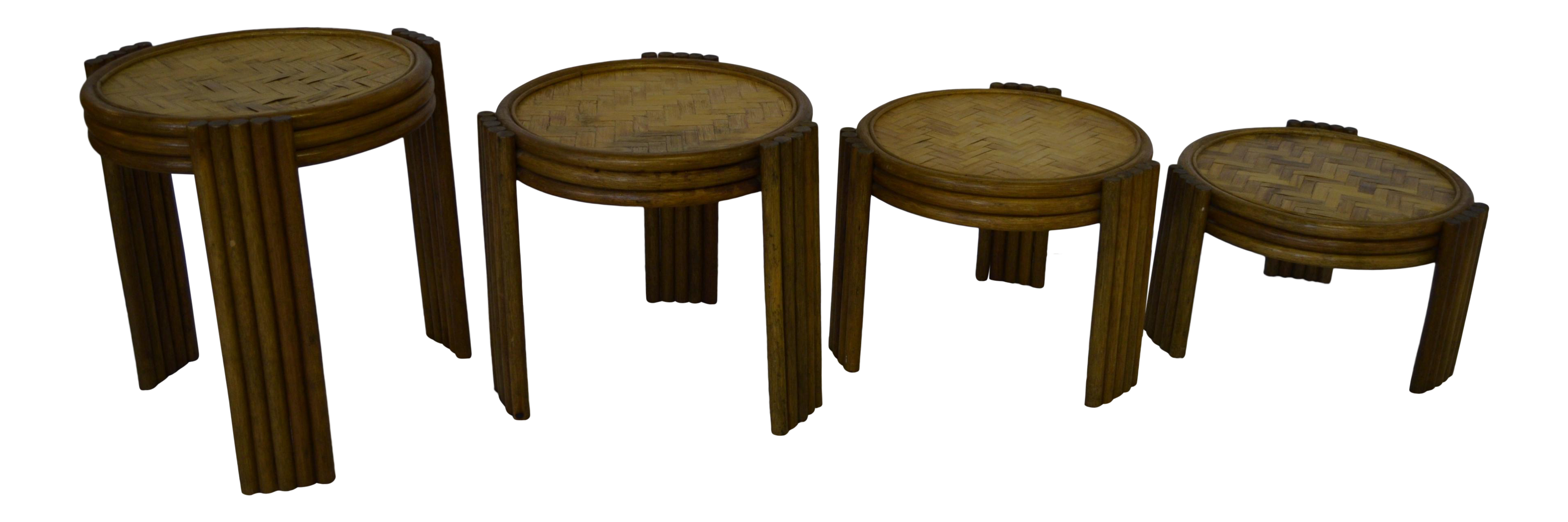 Vintage Bamboo/ Wicker Nesting Side Tables   Set Of 4 For Sale
