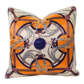 Orange Equestrian Silk Pillow For Sale