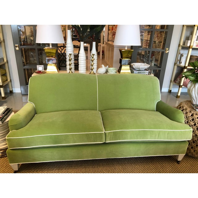 Green Velvet Traditional Low Profile Arm Sofa For Sale - Image 6 of 6