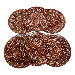 """Mid 20th Century Farmhouse Chic Brown and White Spongeware """"Town and County"""" Dinner Plates by Stangl - Set of 6 For Sale"""