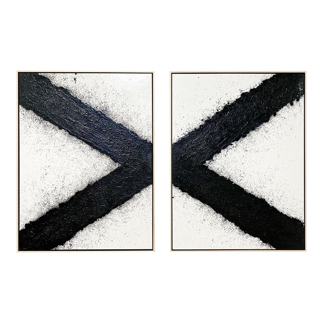 "Exclusive John O'Hara ""Tar, X"" Encaustic Paintings (2-Panel) For Sale"