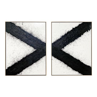 "John O'Hara ""Tar, X"" Encaustic Paintings (2-Panel) For Sale"