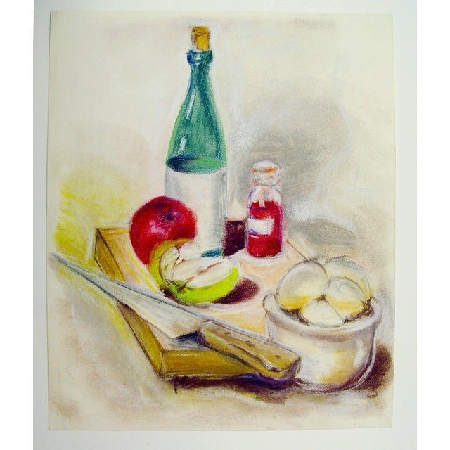 Shabby Chic Wine and Apples Pastel Still Life Drawing For Sale - Image 3 of 4