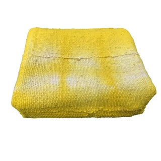 "African Bogolan Textile Mud Cloth Yellow & White 38"" by 58"" For Sale"
