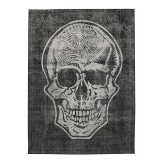 Distressed Overdyed Vintage Skull Rug with Unconventional Design For Sale