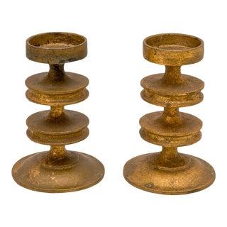 Pair Modernist Candleholders Gilt Iron Midcentury Italian Style For Sale