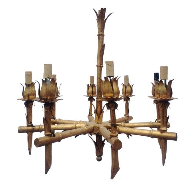 Gilded Metal Bamboo Chandelier - Image 1 of 6