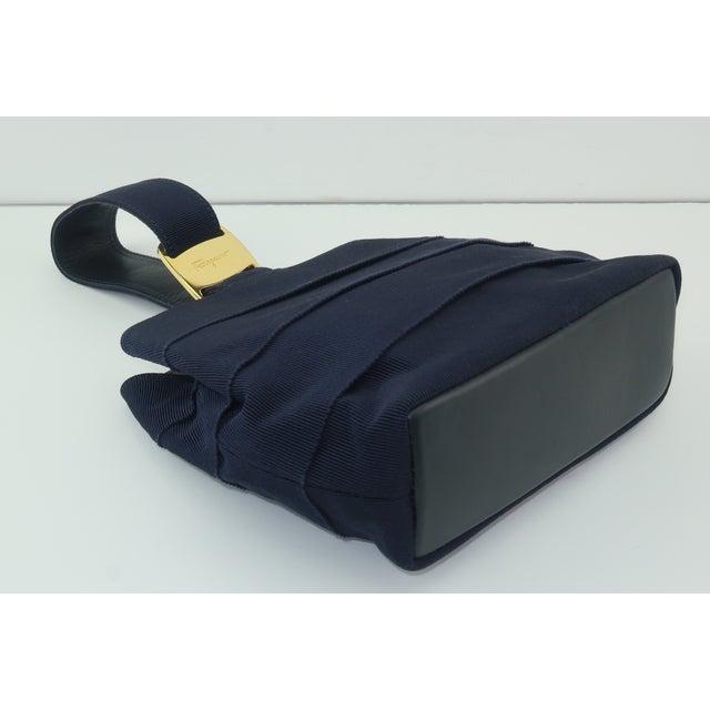 Animal Skin Ferragamo Blue Grosgrain Tiered Wristlet Handbag For Sale - Image 7 of 13