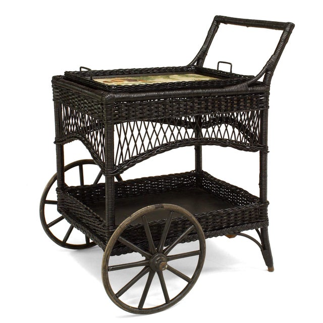 Traditional American Victorian Black Painted Wicker Bar Cart For Sale - Image 3 of 3