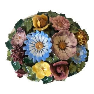 Floral Polychrome Ceramic Capodimonte Sculpture For Sale