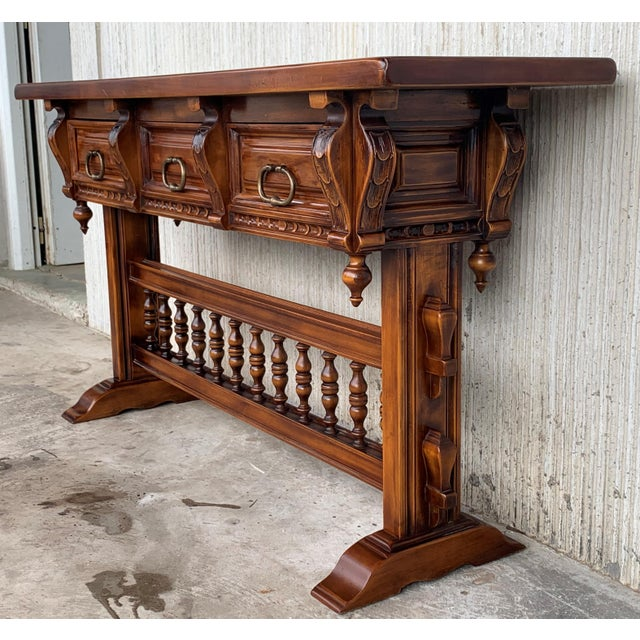 Late 18th Century Baroque Console Table in Walnut With Three Carved Drawers and Stretcher For Sale - Image 5 of 11