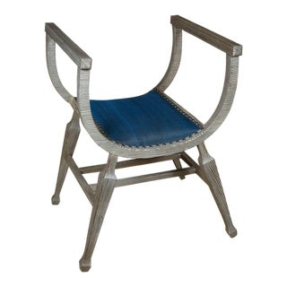 Paul Marra Distressed Fir Bench in Blue Horsehair For Sale