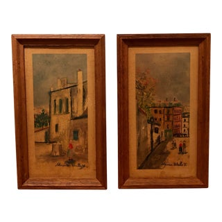 """Vintage French """"Street Scenes"""" Lithographs by Maurice Utrillo - a Pair For Sale"""