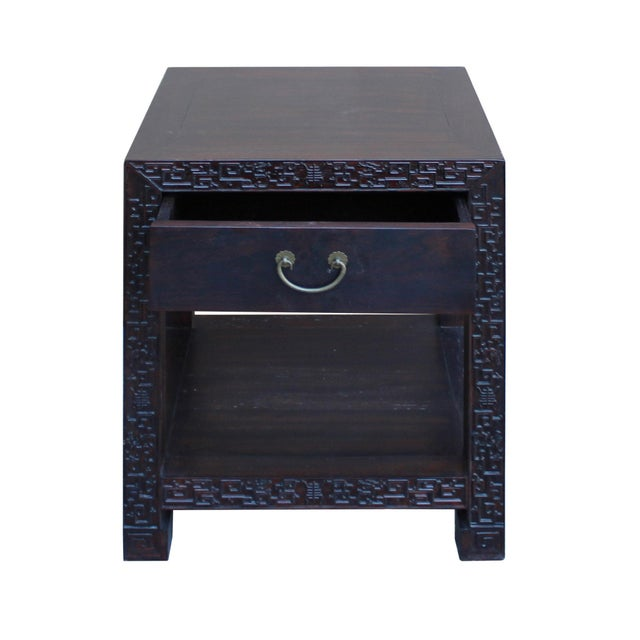 Chinese Oriental Brown Dragon Rim Carving End Table Nightstand For Sale - Image 5 of 7