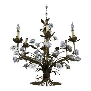 Vintage Gold Gilt Roses Tole Chandelier For Sale
