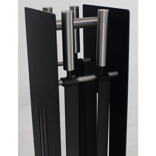 Black Modern Set of Fireplace Tools Black and Chrome For Sale - Image 8 of 9