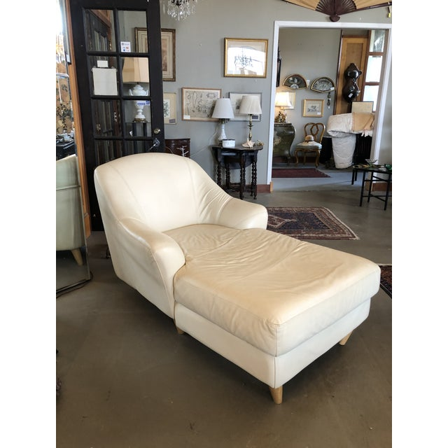 1980s Vintage Calia Italia Italian Cream Leather Chaise For Sale - Image 13 of 13