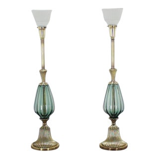 Vintage Mid Century Brass and Murano Glass Style Modern Table Lamps- a Pair For Sale