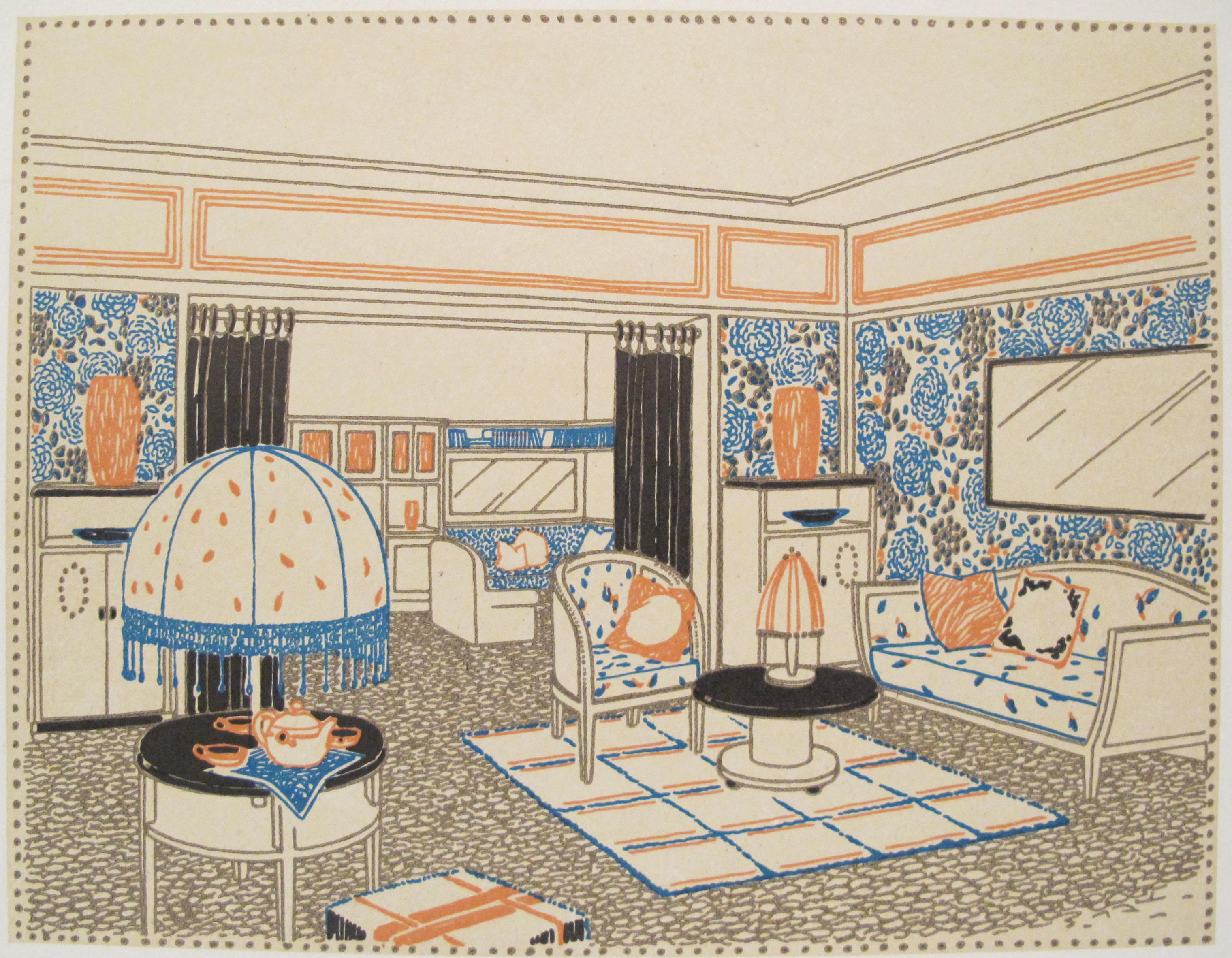 1920s French Art Deco Interior Design Sheet By Francis Jourdain For Sale    Image 5 Of
