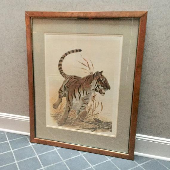 "Safari Copper Framed John Ruthven ""Bengal Tiger"" Lithograph From 1970s Safari Series For Sale - Image 3 of 9"