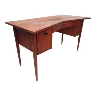 Unique Vintage Modern Desk With Cane Back For Sale