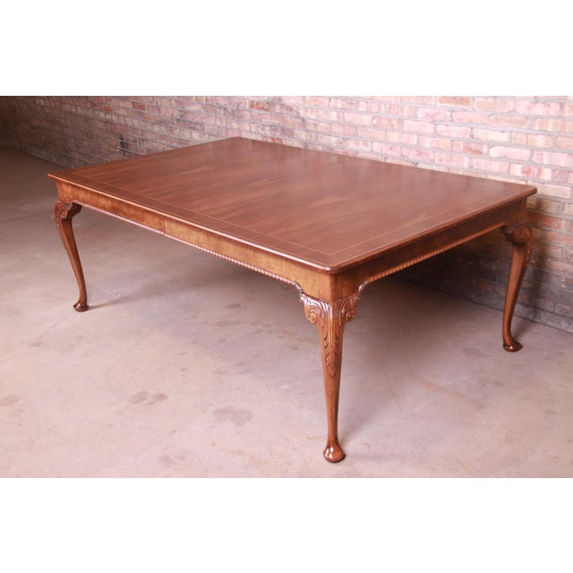 Baker Furniture Stately Homes Queen Anne Inlaid Walnut Extension Dining Table, Newly Refinished For Sale - Image 11 of 13