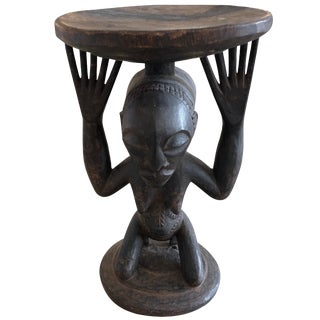 Striking Carved Wood African Figural Small Accent Table For Sale
