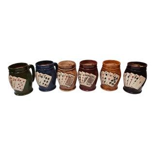 Vintage 1964 Ceramic Poker Hand Mugs - Set of 6 For Sale