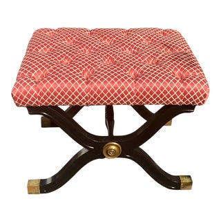 Hollywood Regency Style X Frame Ottoman Footstool Bench For Sale