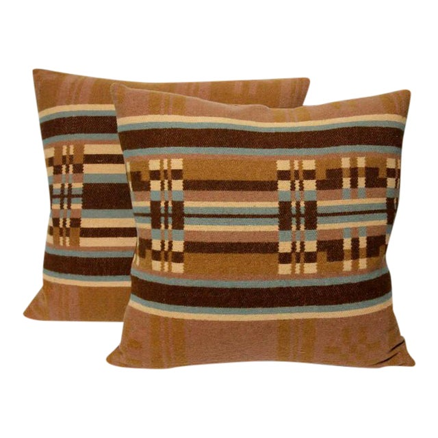Pair of 19th Century Horse Blanket Pillows For Sale