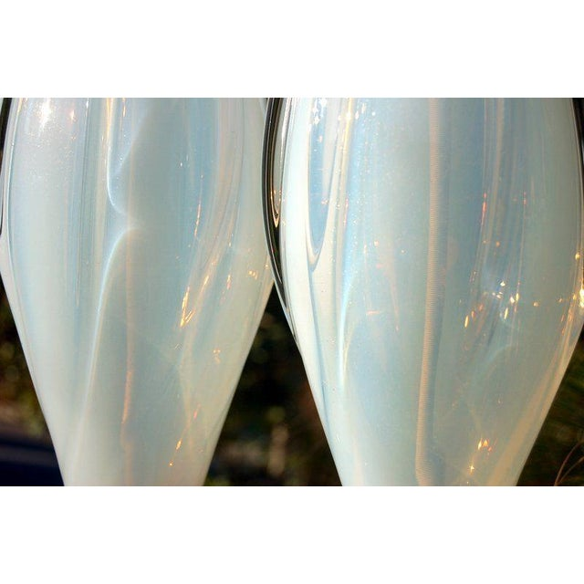 Vintage Murano Opaline Glass Table Lamps White- A Pair For Sale In Little Rock - Image 6 of 8