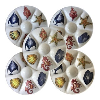 5 Italian Ceramic Oyster Plates-Hand Painted For Sale