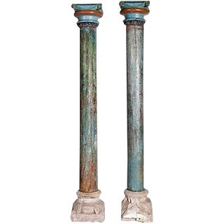 Mid-19th Century Blue Painted Round Wood Columns With Stone Bases - A Pair For Sale