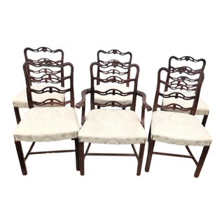 Vintage Mid Century Solid Mahogany Chippendale Style Dining Chairs - Set of 6 For Sale