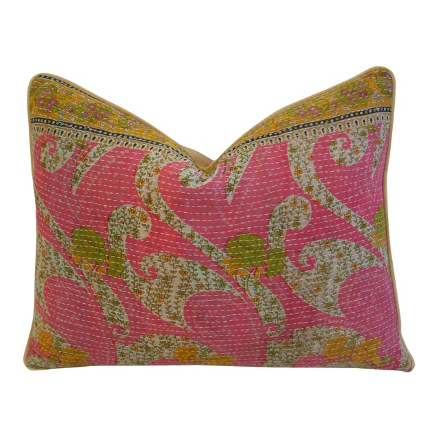 Vintage Kantha Feather & Down Textile Pillow - Image 1 of 5