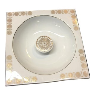 Vintage White & Gold Dish For Sale
