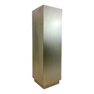Caracole Modern Silver Leaf Finished Light Up Pedestal With Hidden Storage For Sale