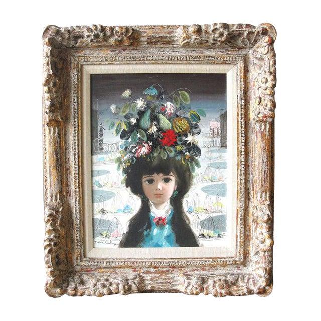 "Jean Calogero Oil Painting ""Patrizia"" (Signed) For Sale"