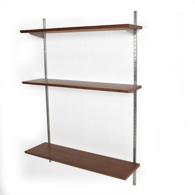 Mid-Century Modern Eames Era Walnut & Aluminum Bookcase Shelving Wall Unit For Sale - Image 10 of 10