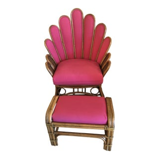 Pink Rattan Peacock Fan Back Lounge Chair & Stool