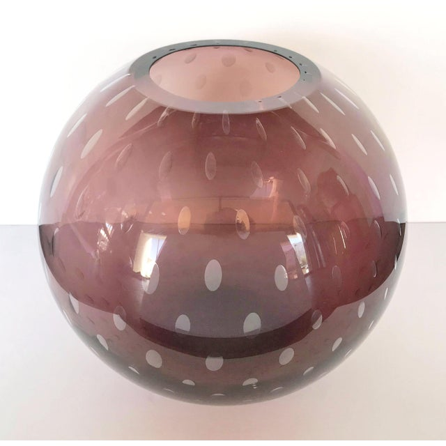 Early 21st Century Italian Pulegoso Amethyst Murano Glass Vases by Alberto Dona - a Pair For Sale - Image 5 of 11