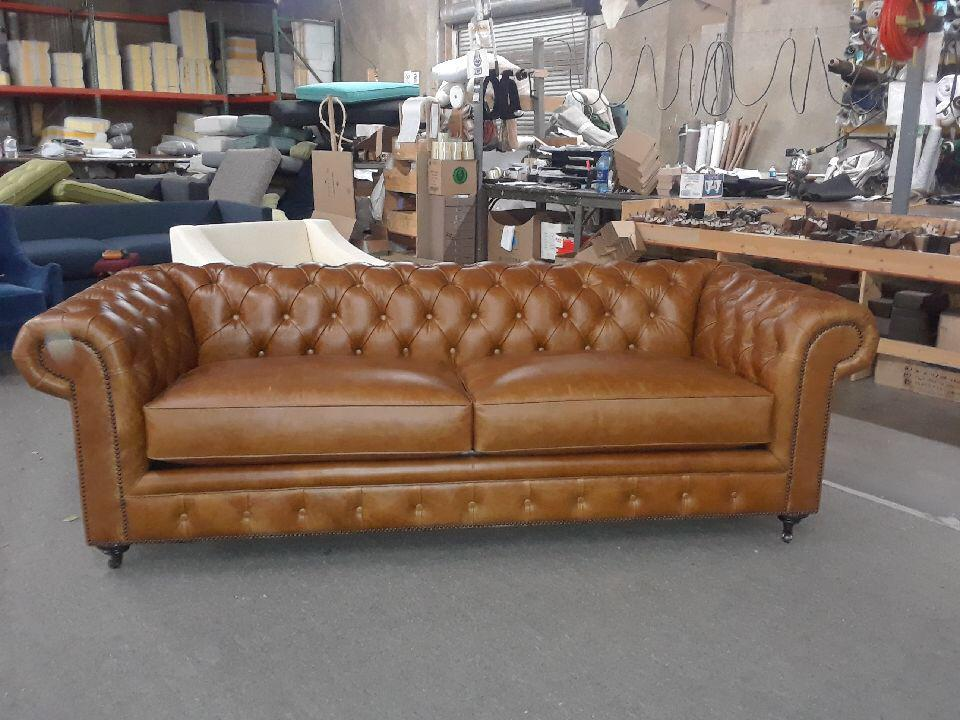 Distressed Saddle Brown Leather Chesterfield Sofa   Image 4 Of 5