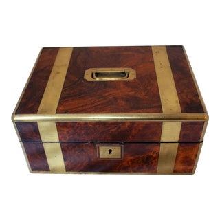 Mid 19th Century English Brass & Walnut Box For Sale