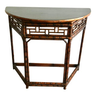 20th Century Chinoiserie Bamboo Demi Lune Console Table For Sale