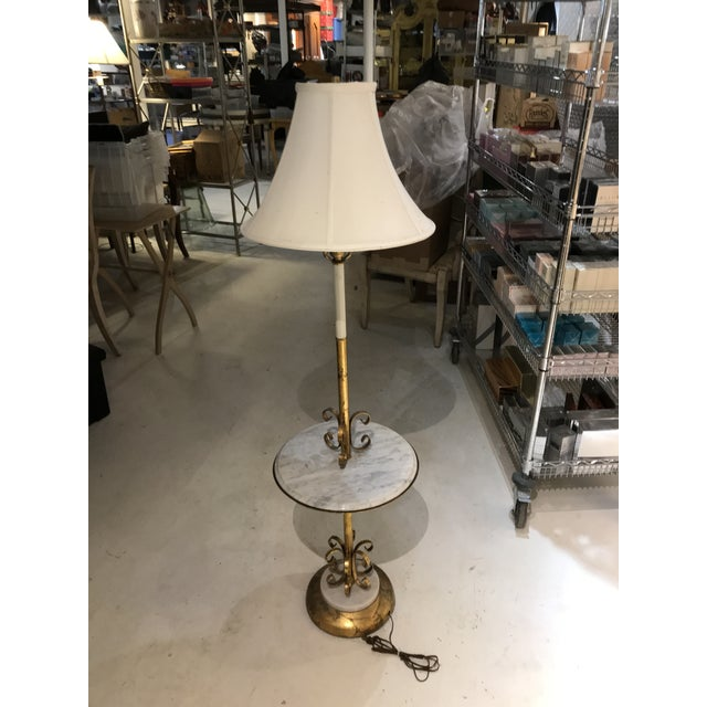 Metal Made in Italy Hollywood Regency Marble Table Floor Lamp For Sale - Image 7 of 7