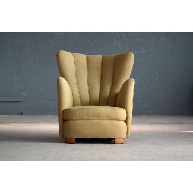 1940s Fritz Hansen Attributed Model 1672 Variant High Back Lounge Chair For Sale - Image 11 of 11